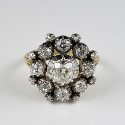 Georgian 3.30 Ct Old Mine Diamond Magnificent Cluster Ring