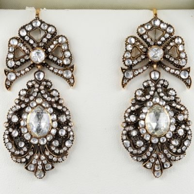GEORGIAN Rare 12.00 Carat Diamond Antique Pendeloque Earrings