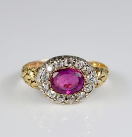 Spectacular Georgian 1.30 Ct Natural Ruby .65 Ct Diamond Rare ring