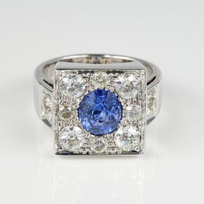 Stellar Late Art Deco 1.80 Ct Natural Ceylon Sapphire 1.90 Ct Diamond Ring