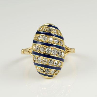 Superb Edwardian Diamond and Royal Blue Enamel Ring