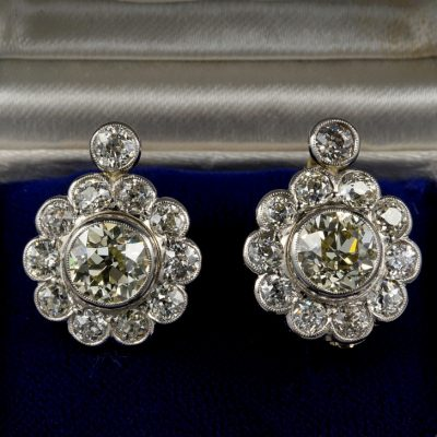 An Important Edwardian 6.50 Ct Diamond Rare Cluster Earrings