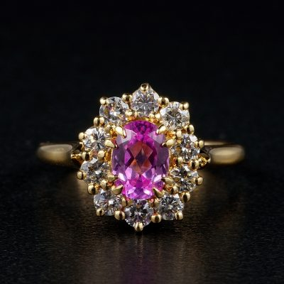 French Natural 1.20 Ct Pink Sapphire .80 Ct Diamond Superb Cluster ring