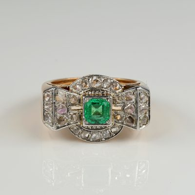 Superb Art Deco Emerald and Diamond Bow Ring