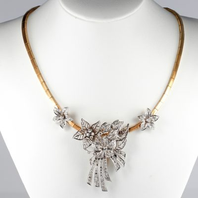 Spectacular Art Deco 5.0 Ct Diamond Flower Spray Necklace Clip Brooch
