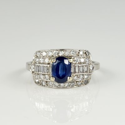 Art Deco 1.00 Ct Natural Sapphire 1.0 Ct Diamond Rare Panel Ring