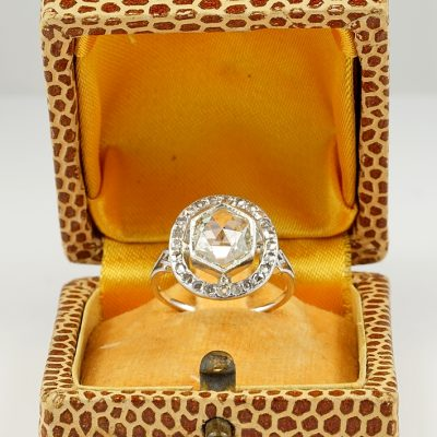 Charming Edwardian 2.0 Ct Wide Rose Cut Diamond Platinum Ring