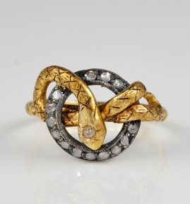 Victorian Diamond Coiled Snake ring 18 KT Gold Silver