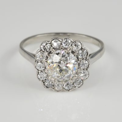 Antique Art Deco 1.60 Ct Diamond Cluster Engagement Platinum Ring