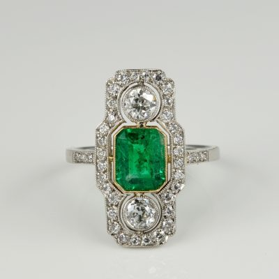 Belle Epoque Colombian Emerald Diamond Rare Platinum Ring