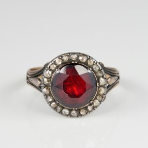 Georgian  Antique Red Garnet  Diamond Rare Ring