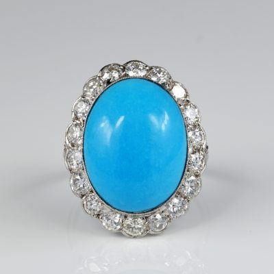 Edwardian 13.50 Carat  Natural Persian Turquoise 2.70 Carat Diamond Platinum ring