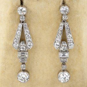Art Deco 3.60 Ct Diamond Platinum Drop Earrings