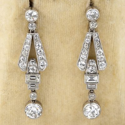 Art Deco 3.60 Ct Diamond Platinum Drop Earrings
