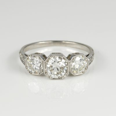 Spectacular Art Deco Three Stone 1.70 CT Diamond Platinum Ring