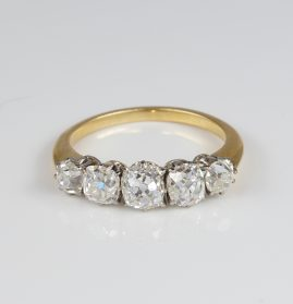 Spectacular Edwardian 2.30 Ct Old Mine Cut Diamond Five Stone Ring