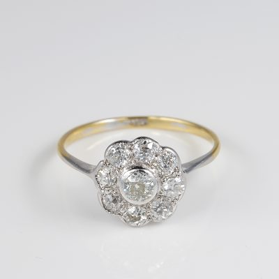 Authentic Edwardian Diamond Cluster Ring 18 KT Gold Platinum