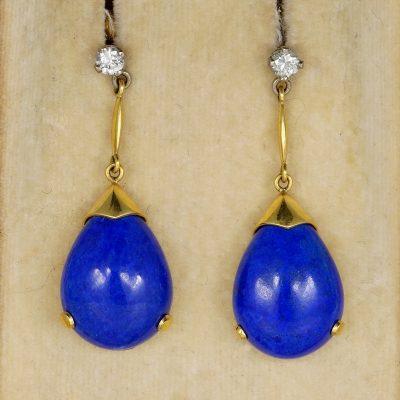 Authentic Art Deco Diamond Lapislazuli Rare Earrings