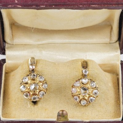 Victorian 2.10 Ct Rose Cut Diamond Rare Cluster Earrings