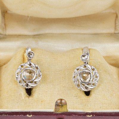 Edwardian Rose Cut Diamond Solitaire Earrings