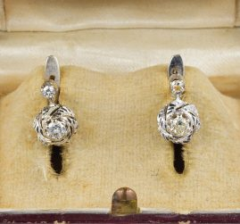 Late Art Deco .28 Ct G VVS Diamond Solitaire Little Earrings