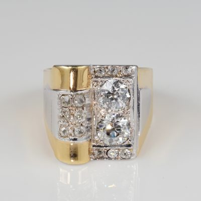French Late Art Deco Distinctive 1.95 CT Diamond Cocktail ring