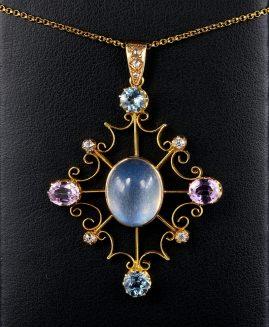 Celestial Rare George III Moonstone Aquamarine Topaz Diamond Large Pendant