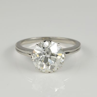 Excellent Art Deco 3.80 Ct Old European Diamond Solitaire Ring 1920 ca