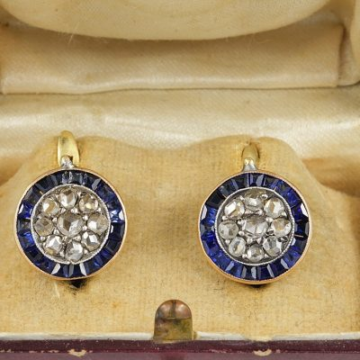 Authentic Victorian 3.0 Ct Natural Sapphire 1.0 Ct Diamond Rare Target Earrings