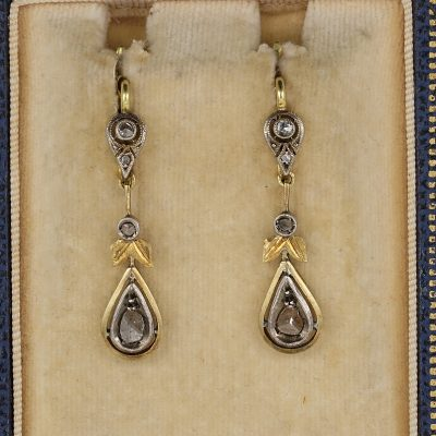 Delightful Victorian Rose Cut Diamond Drop Earrings