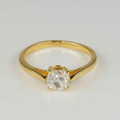 Victorian 1.15 Ct Old Mine Cushion Cut Diamond G VVS Rare Solitaire ring