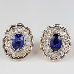 Rare Edwardian 2.60 Ct Natural No Heat Ceylon Sapphire 3.0 Ct Old Diamond Ear Studs