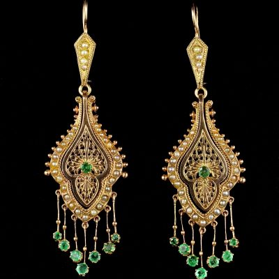 Antique Victorian Etruscan Revival Pearl Emeralds Earrings 12 KT Gold