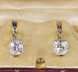 Art Deco 3.90 Carat Cushion Diamond Solitaire earrings