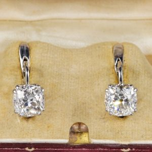 Art Deco 3.90 Carat Cushion Diamond Solitaire earrings