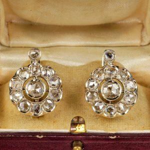 Superb Edwardian 4.70 CT Rose Cut Diamond Large Cluster Earrings