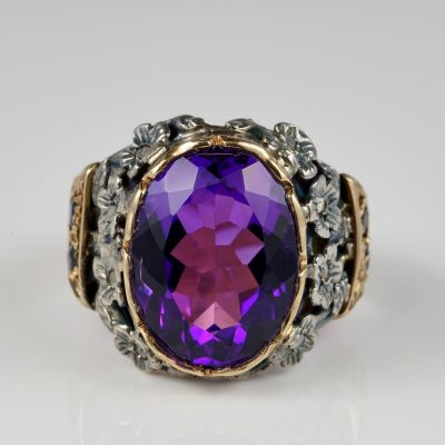 Authentic Victorian Natural Russian Amethyst Sapphire Diamond Rare Ring