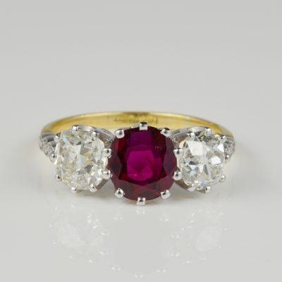 Authentic Edwardian 1.70 CT Natural No Heat Ruby 2.80 CT Old Mine Diamond Rare Ring