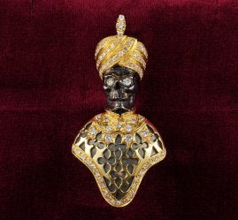 RARE VENETIAN BLACK MOOR SKELETON 2.0 CT DIAMOND VINTAGE MORETTO BROOCH!