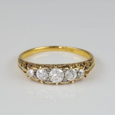 Glorious Victorian Five Stone .90 Ct Old Mine Diamond Carved Half Hoop Ring