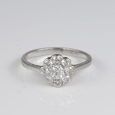 Antique Edwardian .90 Ct Diamond Platinum Daisy ring
