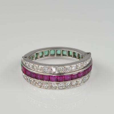Art Deco Diamond Ruby Emerald Rare 18 CT Flip ring