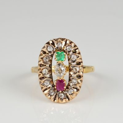Distinctive Victorian Multi gems Diamond ring 1880 ca.