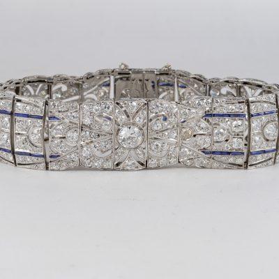 Art Deco 14.0 Carat Diamond Natural Sapphire Platinum Bracelet