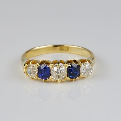 Victorian 1.0 Carat Old Mine Diamond 1.0 Carat Sapphire Five Stone Ring