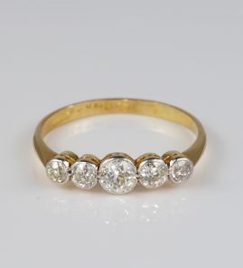 Gorgeous Edwardian 1.0 Carat Diamond Five Stone Ring