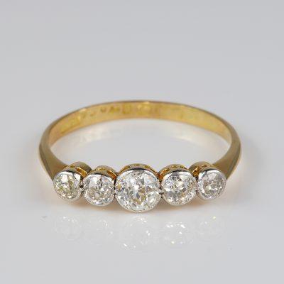 Gorgeous Edwardian 1.0 Carat Diamond Five Stone Ring