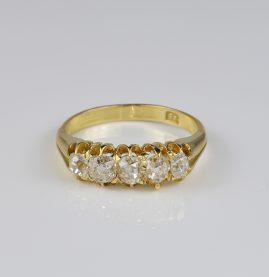 Victorian 1.60 Ct G VVS VS Five Stone Diamond Ring