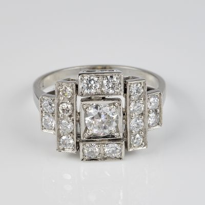 Purest Art Deco 1.35 Ct Diamond Platinum Ring