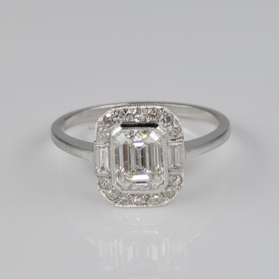 Art Deco 1.20 Ct Emerald Cut Diamond Solitaire Plus Platinum Ring